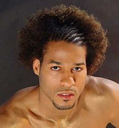Mix of cornrows and afro for African American men