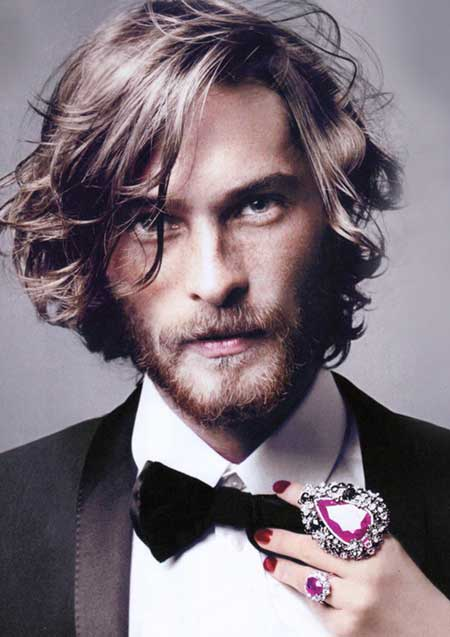 Mens long wavy hairstyle