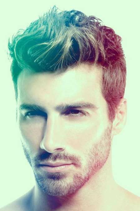Mens messy wavy hairstyle