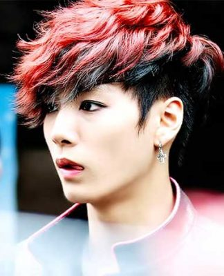 Short length flaming red hairstyle