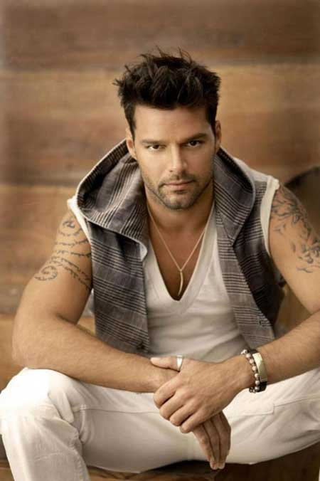 Ricky Martin's Charming and Attractive Hairstyle with Little Spike