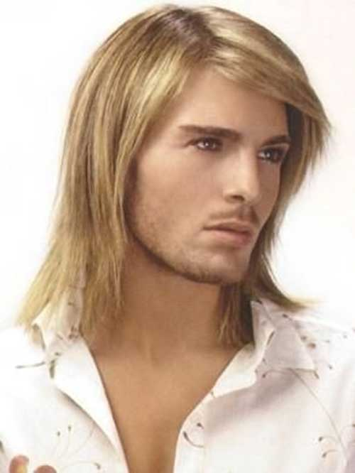 Blonde Man Straight Layered Hairstyles