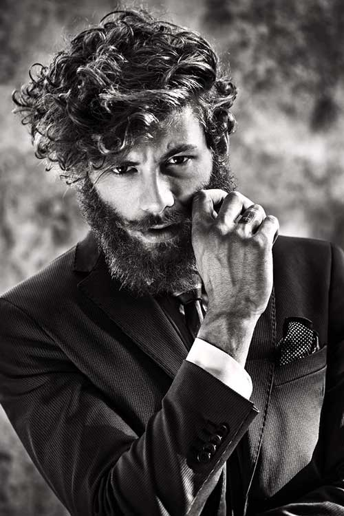 Classy Curly Medium Hair with Beard
