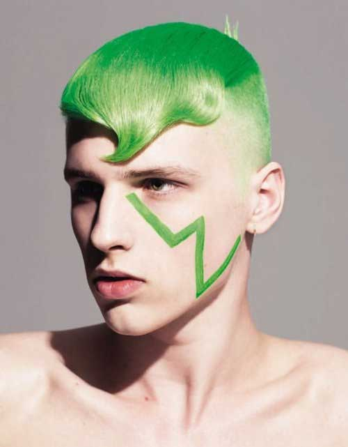 Faded Shaved and Green Concept Hair Color Men