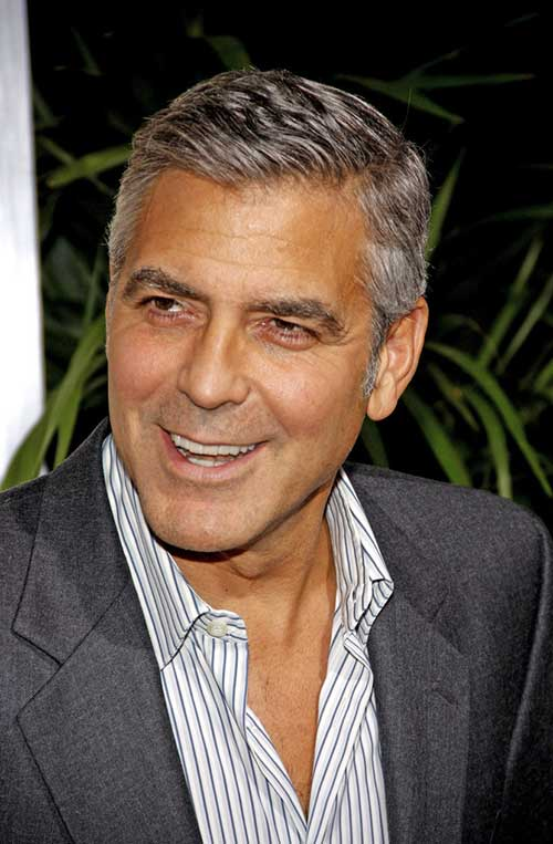 George Clooney Hairstyle With Grey Hair