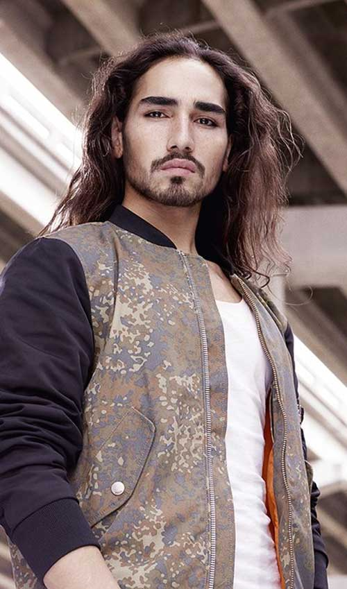 Male Model with Long Hairstyle