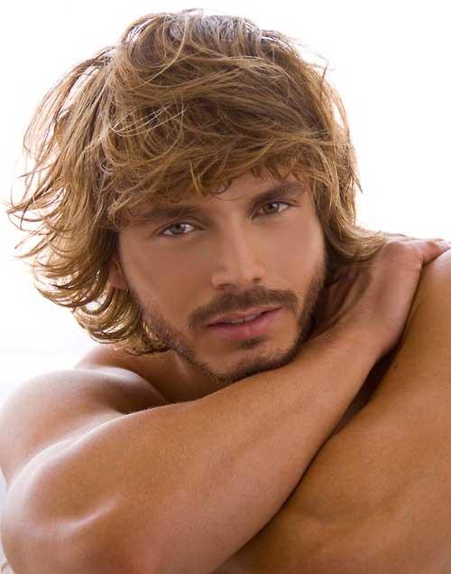 Men Longish Blonde Curly Hair