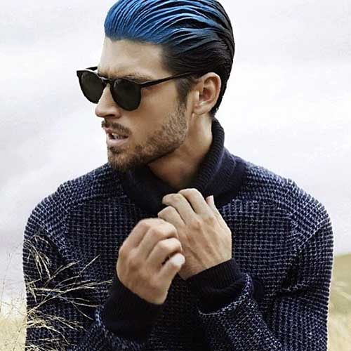 Cool Slicked Mens Hairstyles with Blue Dye 2015