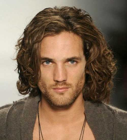 Men's Long Hairstyles with Side Parted Curly Hair
