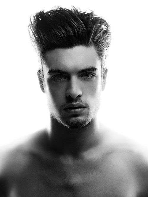 Dark Straight Hairstyle for Trendy Men 2015
