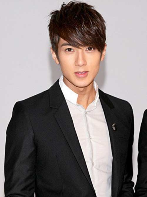 Wu Chun Layered Brown Hair for Asian Men