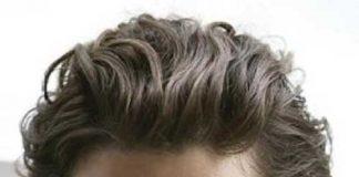 Wavy Ash Brown Men Hair Color