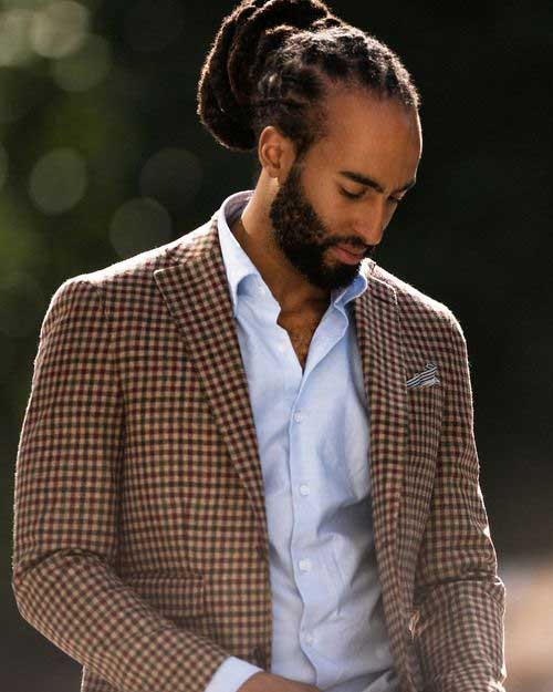 Black Men Long Dreadlock Hair Bun