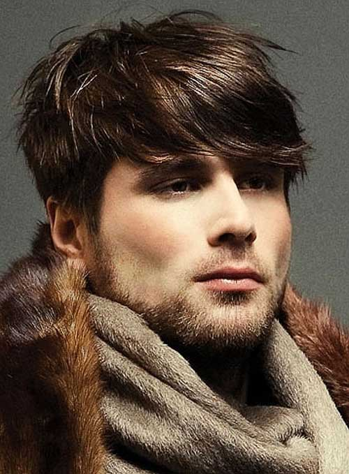 Men Fringe Brown Color Hair