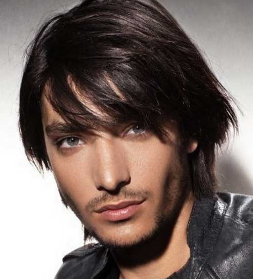Men Long Haircut Fringe Style