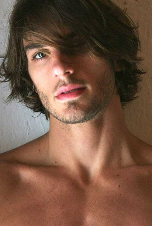 Mens Dark Hairstyles Long Fringe