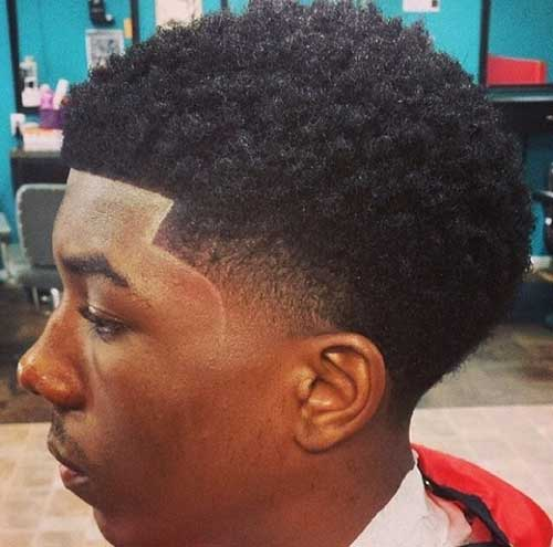 Black Afro Men Taper Faded Cut Idea