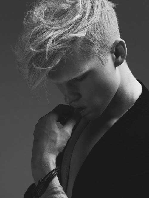 Blonde Mens Haircut with Shaved Sides Curly Top
