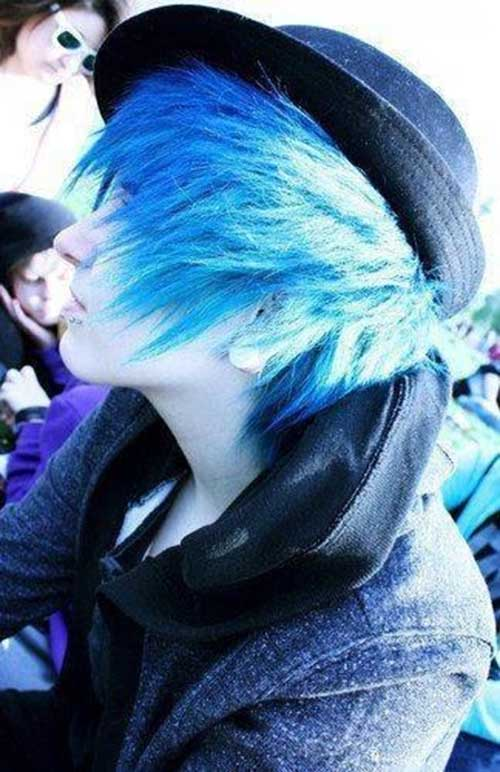 Emo Guys with Blue Medium Hairstyles