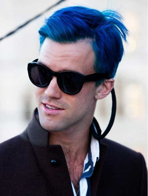 Street Style Guy with Blue Hair