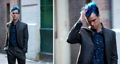 Guys with Blue Trendy Hairstyle