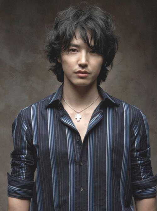 Korean Mens Dark Wavy Hairstyles