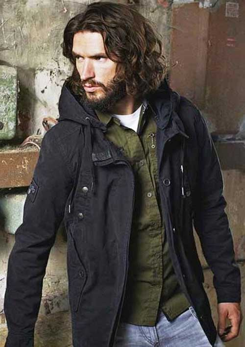 Long Dark Curly Hairstyles for Guys