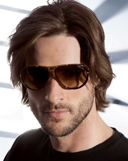 Dark Brown Medium Hairstyles for Men with Oval Faces