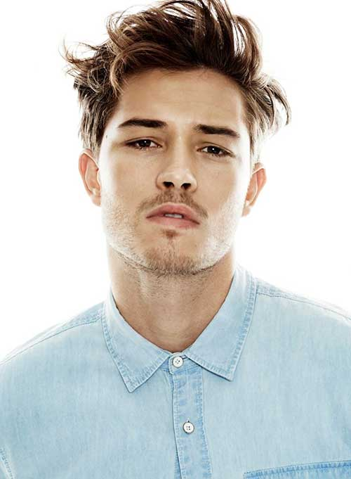 Men Messy Brown Color Hairstyles 2015
