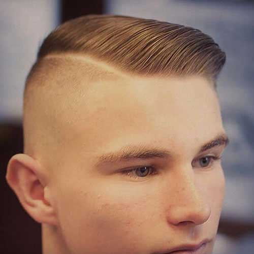 Mens Brown Haircut with Shaved Sides Pictures