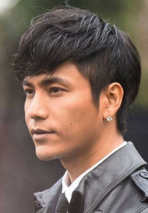 Mens Dark Straight Hair Short Sides Long Top