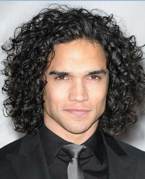 Mens Dark Long Hairstyles for Thick Curly Hair