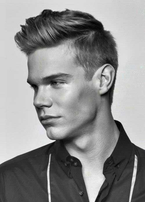 Trendy Mens Pompadour Hair Short Sides Long Top
