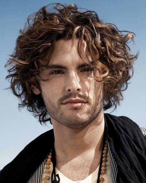 Mid Length Curly Hairstyles for Men