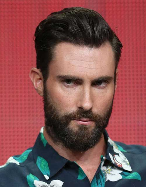 Adam Levine Slicked Back Hairstyles 2015