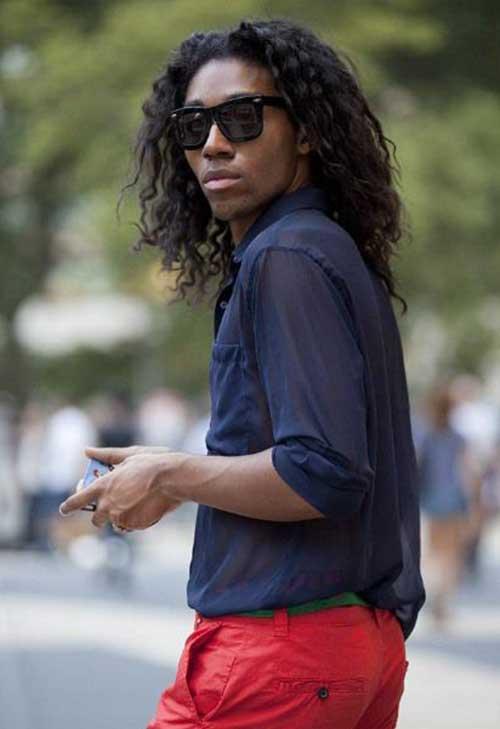 Black Men Curly Long Hairstyles