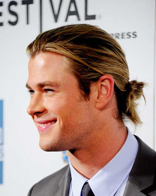 Chris Hemsworth Long Hair Bun