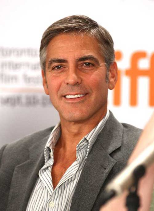 George Clooney Side Part Short Hairstyles