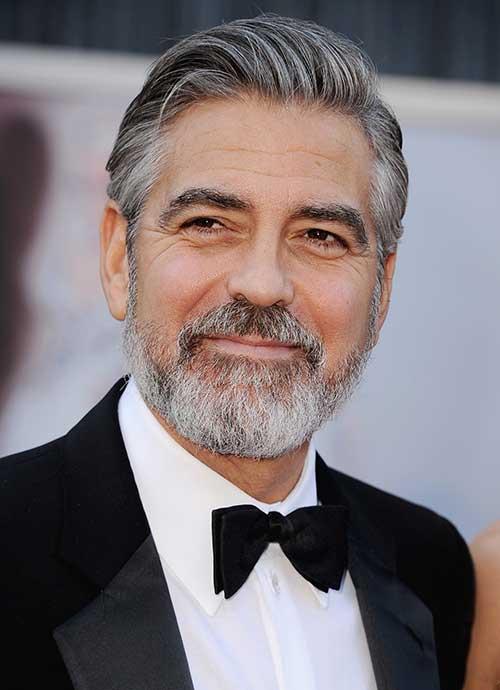 George Clooney Slicked Back Hair Cut