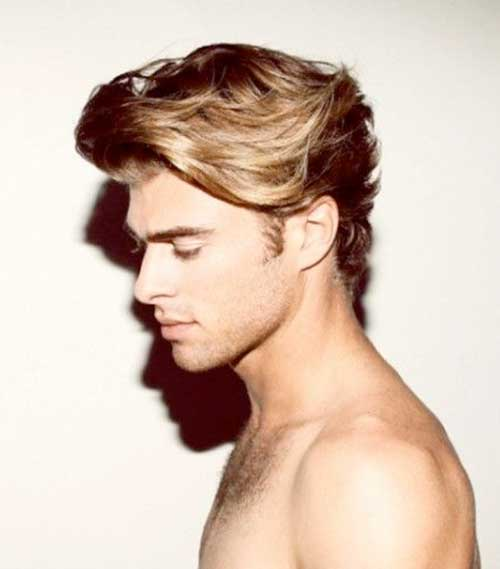 Blonde Hairstyle for Men with Wavy Hair