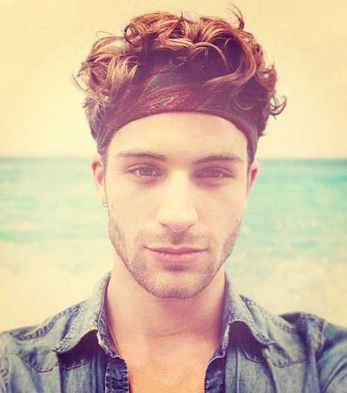 Headbanded Wavy Hairstyles for Men
