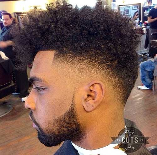 Black Men Haircuts with Curly High Top