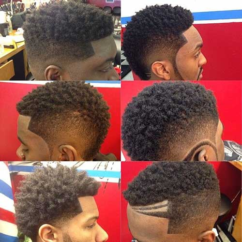 Black Men Mohawk Fade Haircut