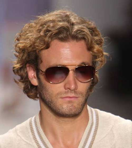 Curly Medium Blonde Hairstyles for Men