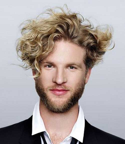 Curly Messy Blonde Hairstyles for Men
