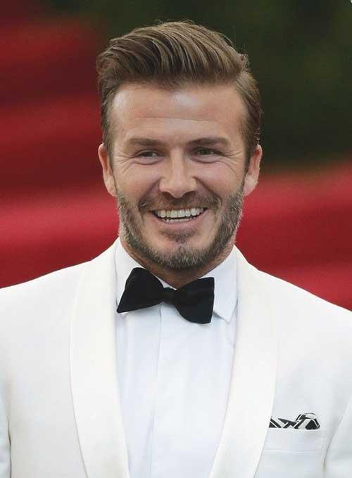 David Beckham Side Swept Hairstyles 2014