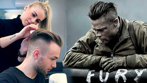 Brad Pitt Fury Haircut Men