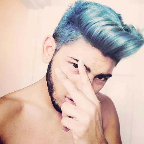 Guy with Light Blue Hairstyles