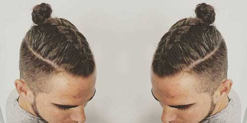 Men Braided Bun Hair