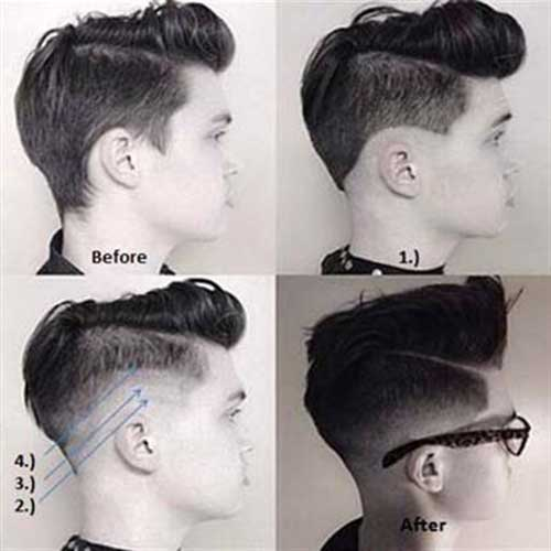 Men Fade Cut Pompadour Hair